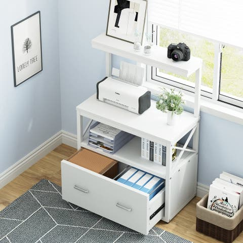 Lateral File Cabinet, Modern Filing Cabinet with 1 Large Drawer, Printer Stand with 2 Open Storage Shelves