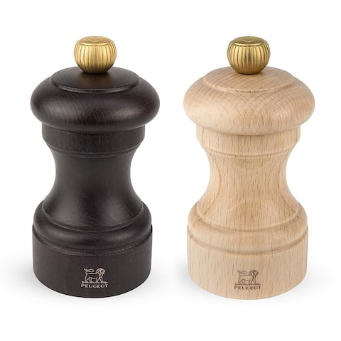 Peugeot 2/22594 Bistro 4 Inch Chocolate Pepper Mill and 4 Inch Natural Salt Mill Set - Chocolate & Natural