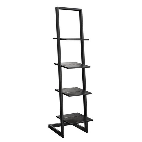 4 Tier Ladder Bookshelf Black