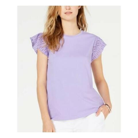 MICHAEL KORS Womens Purple Jewel Neck Top Size S