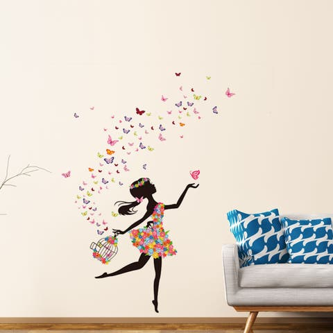"""Butterfly Flower Removable Wall Sticker Decal Mural Christmas Room Wallpaper 35.4""""x23.6"""""""