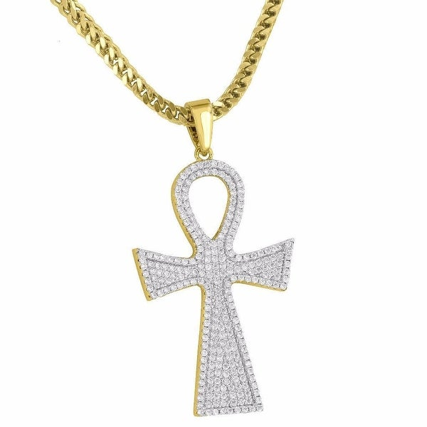 """Mens Designer Ankh Cross Pendant Iced Out 18K Gold Tone Simulated Diamonds 24"""" Franco Chain"""