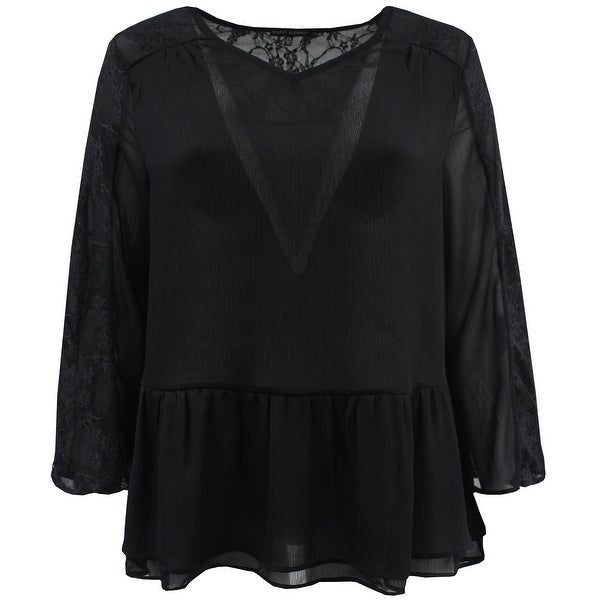 Women - Plus Size Chiffon Lace Ruffle Top Knit T-Shirt Fashion Blouse Tee Black