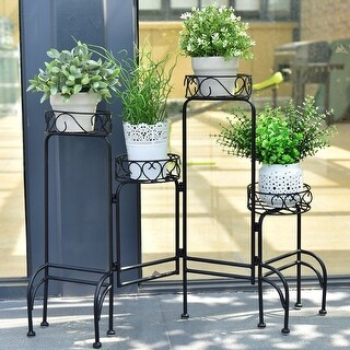 Costway 4 IN 1 Heavy Duty Metal Flower Pot Rack Plant Display Stand Shelf Holder Garden - Black