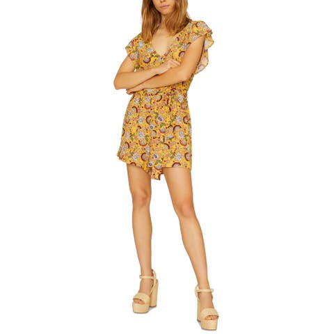 Sanctuary Women's Romper Yellow Size Large L Floral Print Button Front