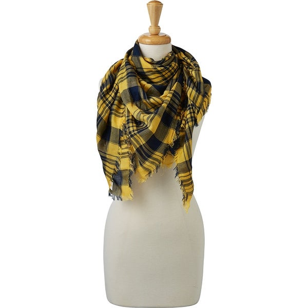 Tickled Pink Soft Square Plaid Scarf. Opens flyout.
