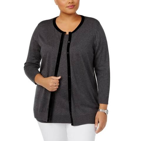 August Silk Womens Sweater Gray Size 3X Plus Cardigan Velvet-Trim