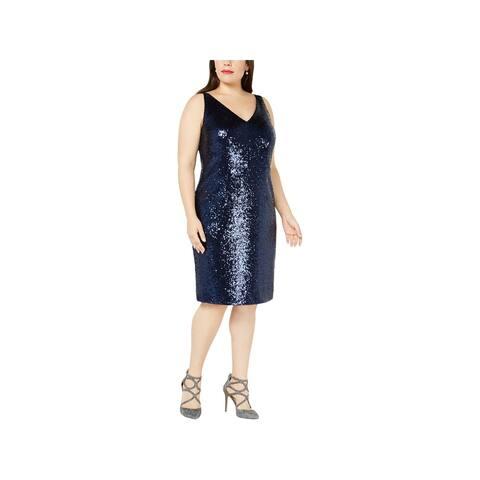 Nightway Womens Plus Midi Dress Sequined Sleeveless
