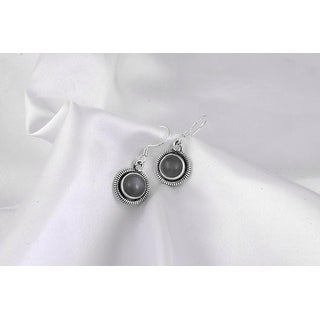 Link to Moonstone Sterling Silver Round Dangle Earrings by Orchid Jewelry Similar Items in Earrings