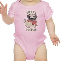 Merry Pugmas Pug Baby Bodysuit Funny Christmas Baby Clothing Gifts - Pink