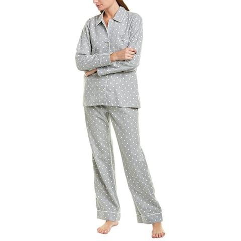J. Crew 2Pc Flannel Pajama Set - SNOW DOT GREY IVORY
