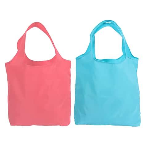 Outdoor Polyester Shoulder Hand Carrier Foldable Shopping Bag Hot Pink Blue 2pcs