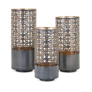 IMAX Home 14322-3  Modi 3 Piece Iron Pillar Lantern Candle Holder Set - Black