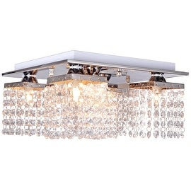 Crystal Ceiling Light, 5 Light, Chrome Flush Mount Ceiling Light, Fixture