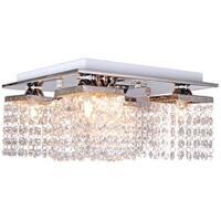 Crystal Ceiling Light, 5 Light, Chrome Flush Mount Ceiling Light, Fixture