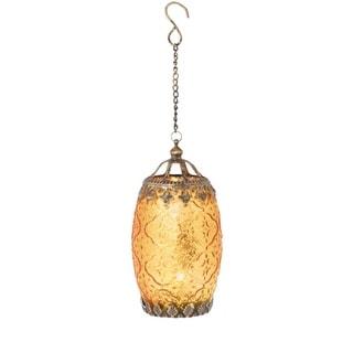 "7.25"" Amber Orange Chic Bohemian Glass Tea Light Candle Holder Lantern - N/A"
