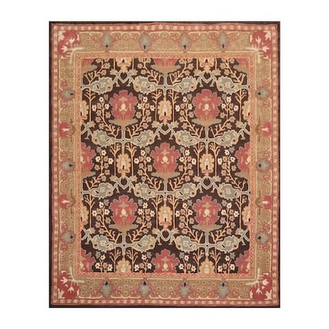 8x10 Hand Tufted Hand Made 100% Wool William Morris Arts & Crafts Oriental Area Rug Brown,Tan Color