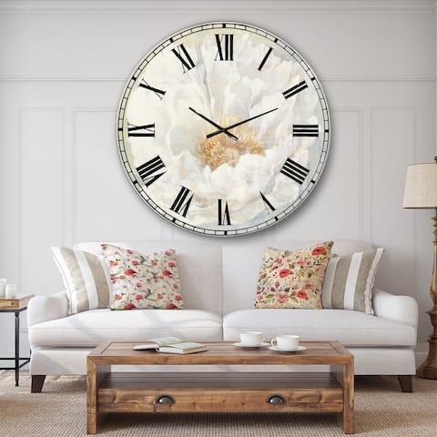 Designart 'White Serene Peony' Cottage Large Wall CLock