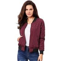 Allegra K Women Quilted Zip Up Raglan Sleeves Bomber Jacket