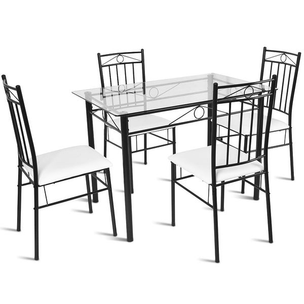 Shop Costway 5 Piece Dining Set Glass Metal Table And 4