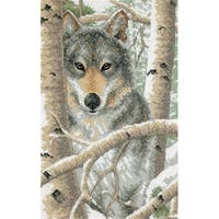 Wintry Wolf Stamped Cross Stitch Kit-9''X14''