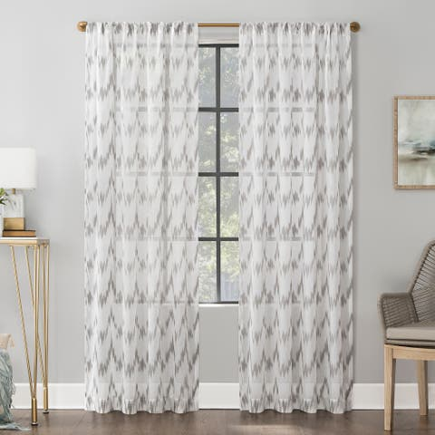 Scott Living Santo Ikat Print Textured Sheer Rod Pocket Curtain Panel (As Is Item)