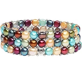 D'AMA Women's Pearl Bracelet - Easy-On Stretch Triple Strand cultured Pearl Bracelet