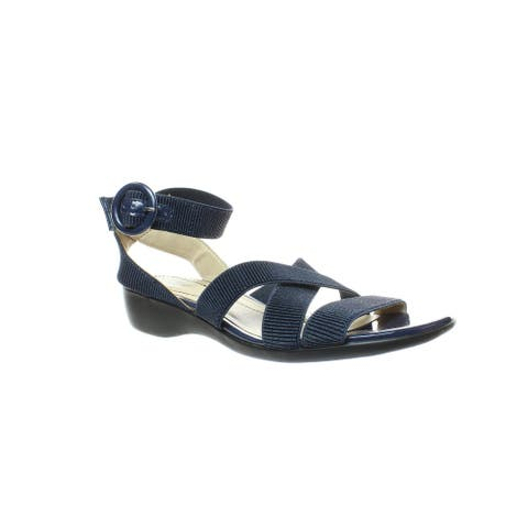 LifeStride Womens Temple Navy Ankle Strap Sandals Size 9.5 (Wide)