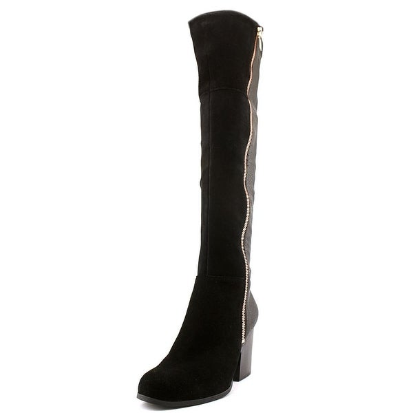 Bar III Party Women Round Toe Suede Black Over the Knee Boot