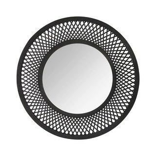 "Stratton Home Decor Handcrafted 38"" Andi Woven Rattan Mirror - Black - N/A"