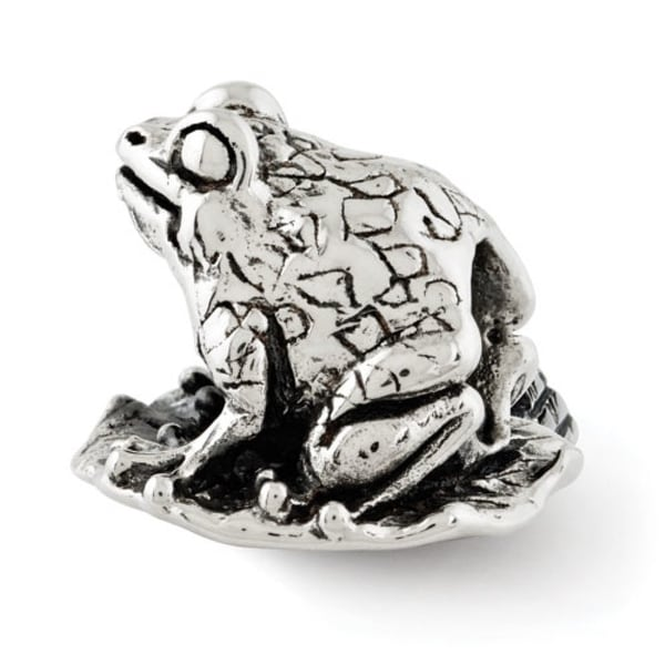 Sterling Silver Reflections Frog on Lily Pad Bead (4mm Diameter Hole)