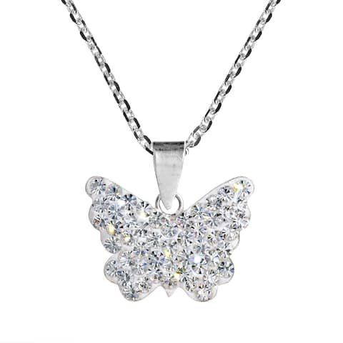 Handmade Cute Butterfly Crystal Sterling Silver Pendant Necklace (Thailand)