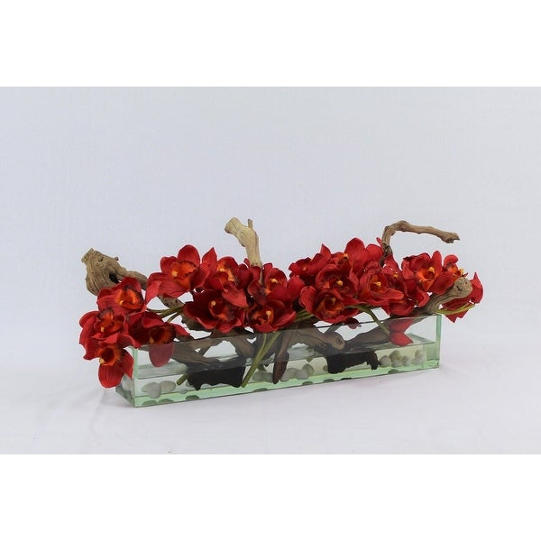 Cymbidium Orchids and Driftwood Centerpiece in Glass Planter. Opens flyout.