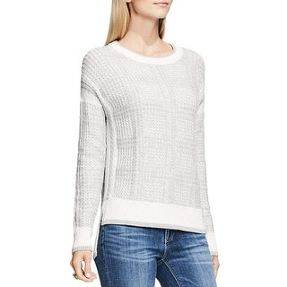 Two by Vince Camuto Womens Crewneck Sweater Ribbed Trim Hi-Low