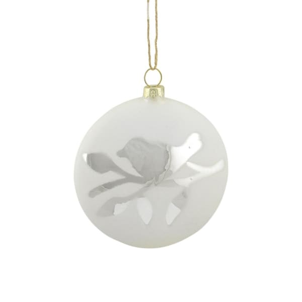 "3.75"" Country Cabin Matte White with Silver Bird on Branch Glass Disc Christmas Ornament"