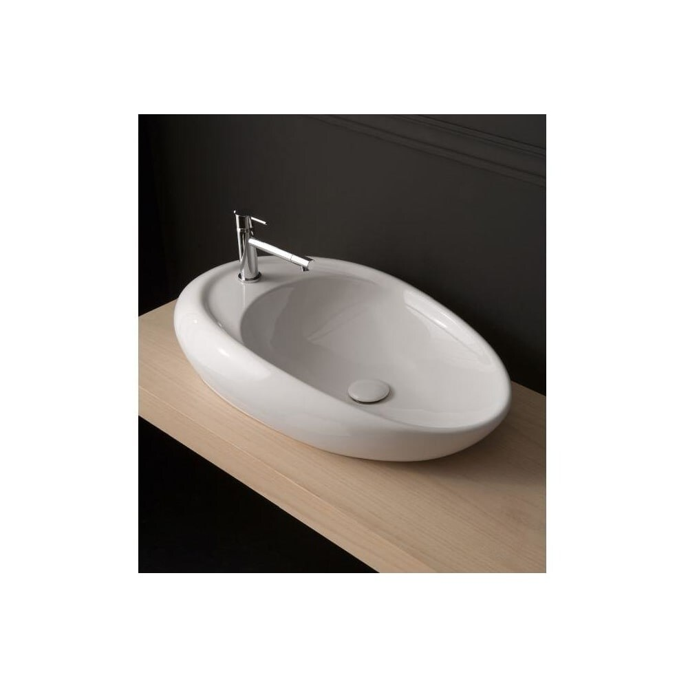 Nameeks 8602  Scarabeo 18 Ceramic Vessel Bathroom Sink with 1 Hole Drilled - White / One Hole