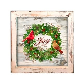 """8"""" White and Green Lighted Cardinal Wreath Christmas Square Shadow Box Decoration"""
