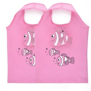 Polyester Fish Pattern Shoulder Hand Carrier Foldable Shopping Bag Pink 2pcs