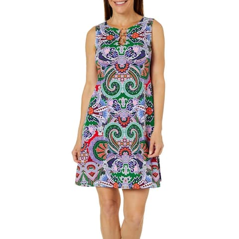 MSK Purple Sleeveless Above The Knee Shift Dress Size L