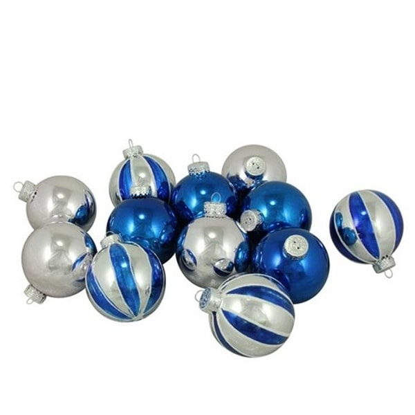 Shop 12 Count Shiny Silver & Blue Glass Ball Christmas Ornaments, 2. - Free Shipping On Orders Over $45 - Overstock - 22463474