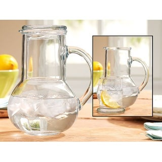 Palais Glassware Carafe set - Bedside Night Carafe 33.25 Oz with Tumbler Glass 7.75 Oz
