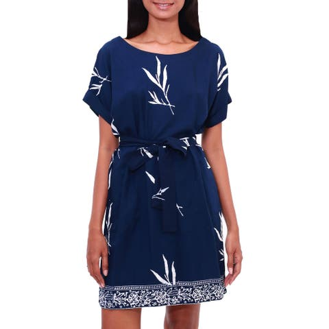 NOVICA Midnight Fall, Rayon batik shift dress