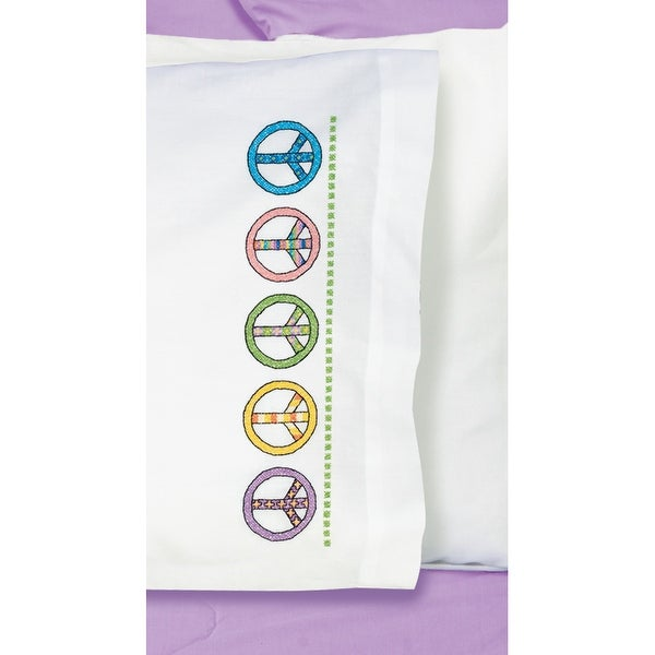 """Stamped Cross Stitch Pillowcase Pair 20""""X30""""-Peace Sign"""