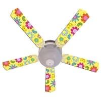 Yellow Bright Flowers Custom Designer 52in Ceiling Fan Blades Set - Multi