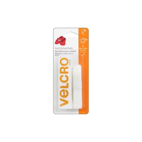 "Velcro Sew On Soft & Flexible Tape 5/8x30"" White"