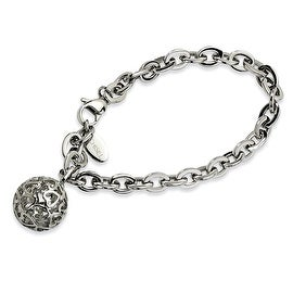 Chisel Stainless Steel Heart Cutouts Puffed Circle 8 Inch Bracelet