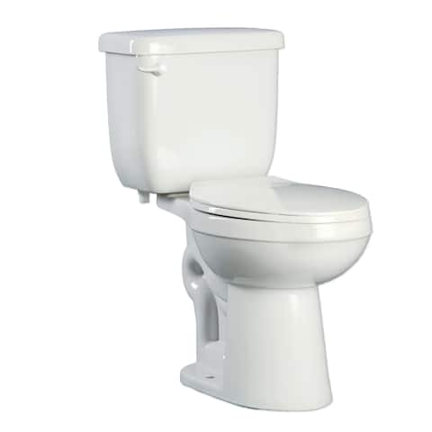 PROFLO PFCT100HE Two-Piece High Efficiency Toilet With Round-Front Bowl and Left Mounted Trip Lever (Seat and Wax Ring