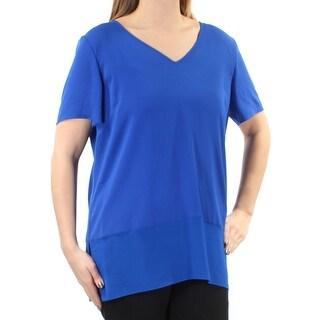 ST JOHN $395 Womens New 1113 Blue Layered V Neck Short Sleeve Top L B+B