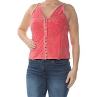 FREE PEOPLE Womens Red Tank Sleeveless V Neck Top  Size: L