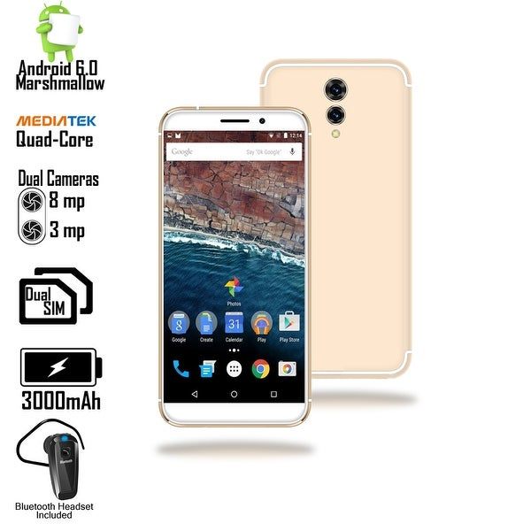 Indigi 4G LTE Unlocked 5.6-inch Android 6.0 SmartPhone w/ QuadCore @ 1.2GHz + Fingerprint Scan) () + Bluetooth Headset